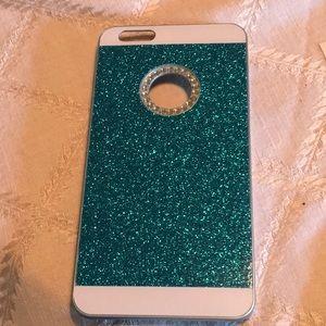 iPhone 6s Plus blue glitter case with rhinestones